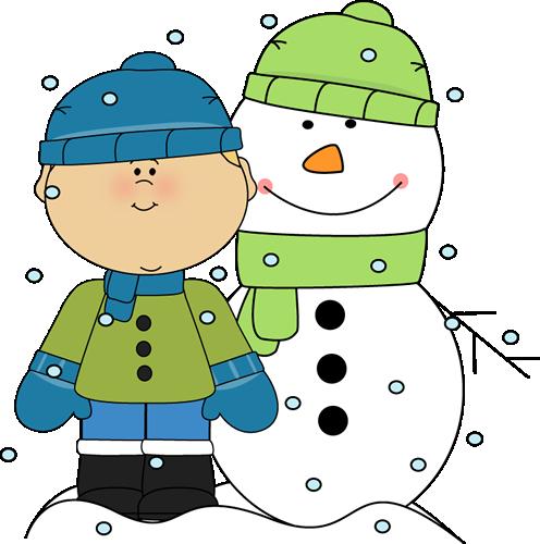 Chico con muñeco de nieve